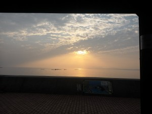 小浜 足湯からの夕日